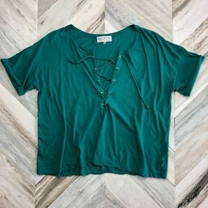 NWOT Wildfox Lace Up Teal Oversized Tee Small